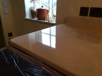 Cremamarfil Marble Kitchen Worktop Table Retore Stratch Stain Removal | Kitchen corner restored with no sign of acid stain.