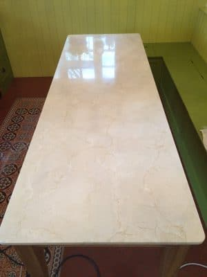 Cremamarfil Marble Kitchen Worktop Table Retore Stratch Stain Removal | Table is completely restored.
