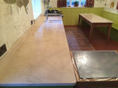 Cremamarfil Marble Kitchen Worktop Table Retore Stratch Stain Removal | Over view of entire job before the work.