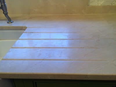 Cremamarfil Marble Kitchen Worktop Table Retore Stratch Stain Removal | Right side of sink badly stained.