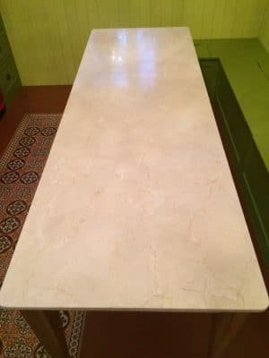 Cremamarfil Marble Kitchen Worktop Table Retore Stratch Stain Removal | Table looking murky and unimpressive.