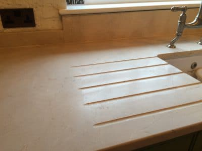 Cremamarfil Marble Kitchen Worktop Table Retore Stratch Stain Removal | Stone is cut to remove scratches on all surfaces.