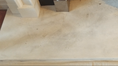 Fireplace Deep Clean And Colour Enhancement | Hearth soot stains close up.