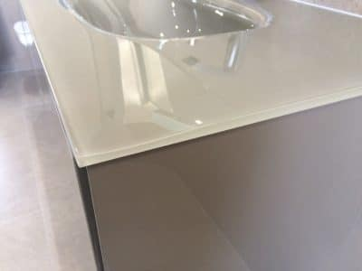 Glass Doube Sink Edge Chip Repair | Side view only shows a slight imperfection in the surface and is now safe to touch and almost invisible.