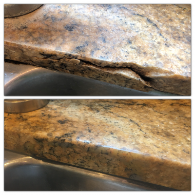 Granite Break Edge Repair | Before and after shot