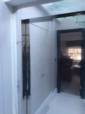 High Shine Stainless Steel Lift Door Polising | Over view of stainless doors.