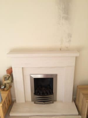 Lime Stone Fireplace Mantle Burn Wax Stain Removal | Finished fireplace overview. Good as new.