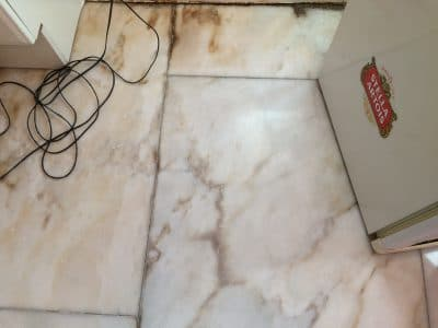 Marble Floor Humidity Stain Removal | One marble tile after a demonstration of one session of stain removal.