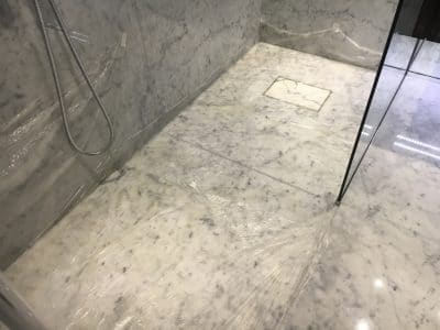 Marble Shower Humidity Contamination Stain Removal | Overview of treatment.