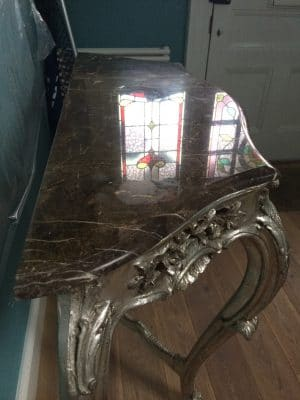 Marble Vanity Unit Etch Removal And Polish | Marks are visible in the reflection on the stone.