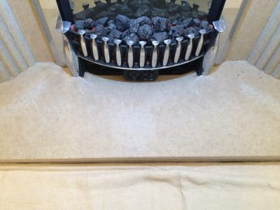 Quartz Fire Place Hearth Etched Stain Removal | Wide angle view of fireplace.