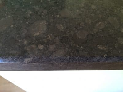 Quartz Kitchen Top Acid Stain Removal   Close up after repair.