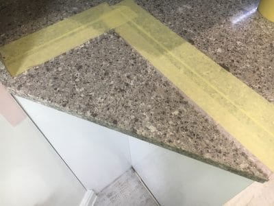 Quartz Repair Restoration Of Kitchen Worktop | The new joint has to be very detailed and strong