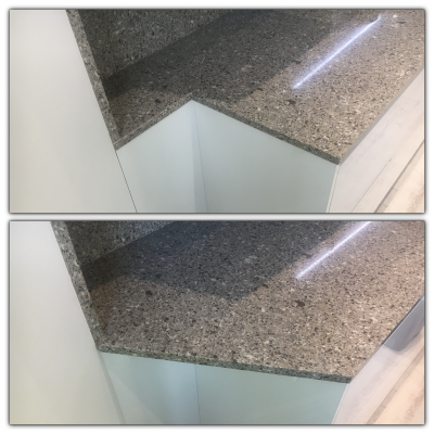 Quartz Repair Restoration Of Kitchen Worktop | Before and after shot of the work