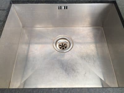 Stainless Sink Restoration Polish Scratch Removal | Another angle of scratched sink.