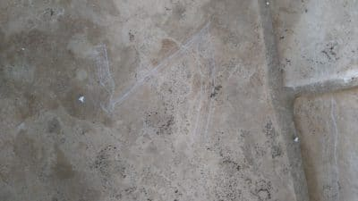 Stone Floor Tile Scratch And Stain Removal | Another view of damage.
