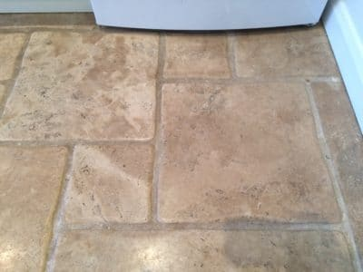 Stone Floor Tile Scratch And Stain Removal | Wide angle view of scratches near fridge.