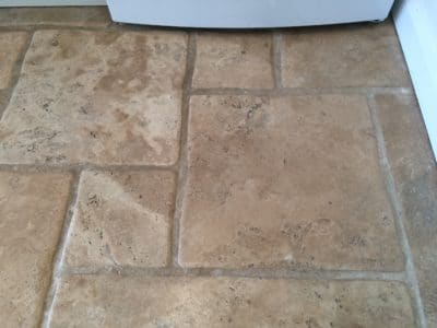 Stone Floor Tile Scratch And Stain Removal | Tiles near the fridge were scratched when the fridge was moved.