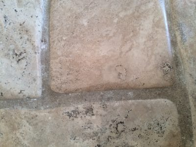 Stone Floor Tile Scratch And Stain Removal | Scratches are gone close up.