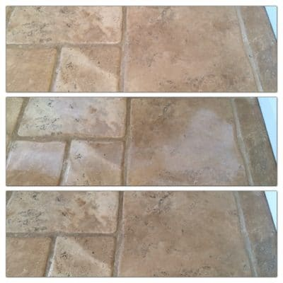 Stone Floor Tile Scratch And Stain Removal | All three stages shown.