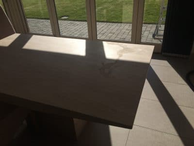 Travertine Table Top Etch Stain Removal | Another view of stain