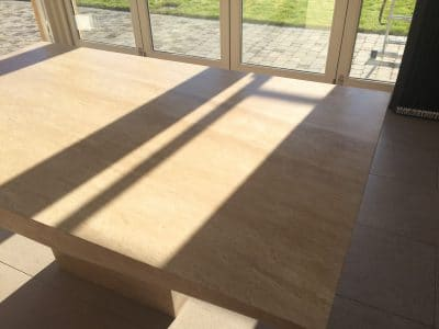 Travertine Table Top Etch Stain Removal | After my repair the stain is completely gone without a trace and the table sealed to enhance the colour and protect from future spills.
