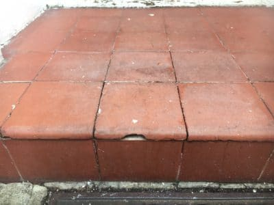 Victorian Clay Tiles Stain Removal | After the stain is removed the tiles are washed and cleaned. The stain is no longer obvious and the general look of the tiles is even.