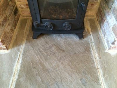 York Stone Fireplace Hearth Oil Stain Removal | Close up of the repair doesn't show any particular problem where the stain was before.